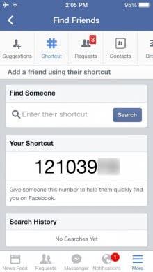 Facebook 捷徑號碼