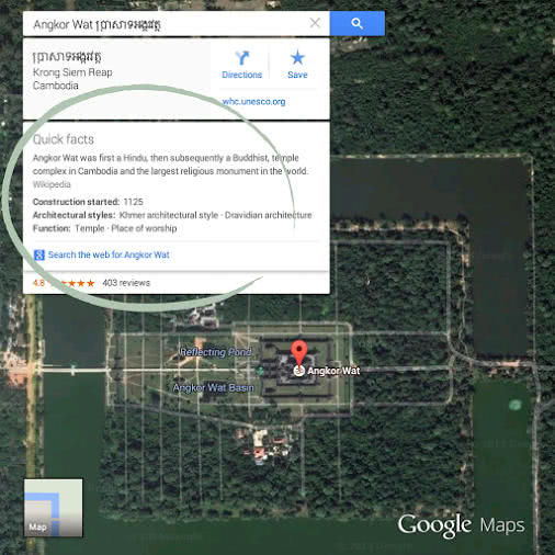 Google 地圖的景點速覽